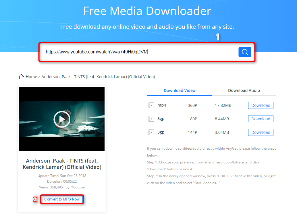 How to Download Songs from YouTube via AnyGet - Step 1