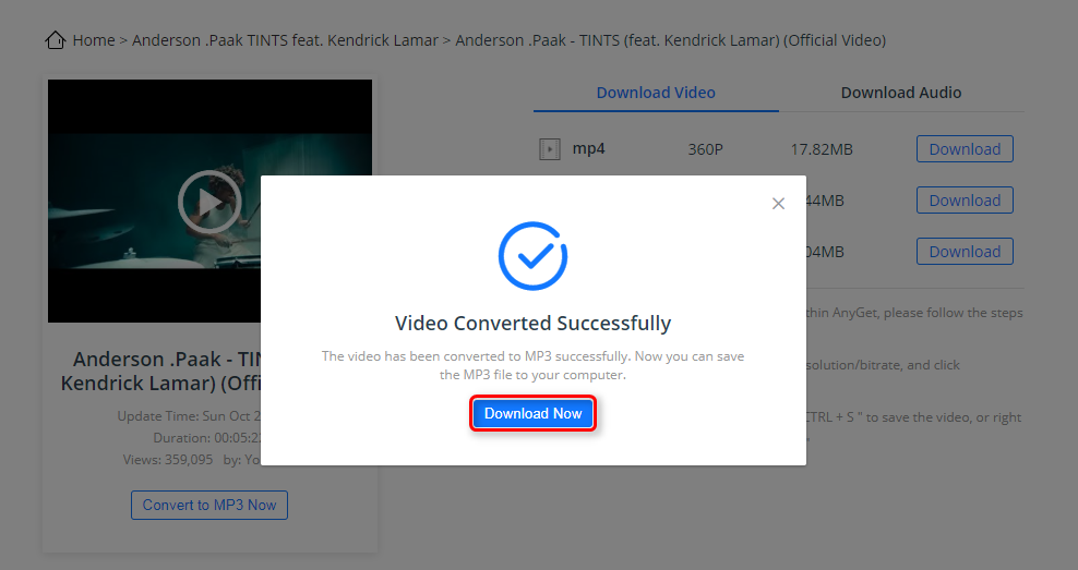 How to Download Songs from YouTube via AnyGet - Step 2