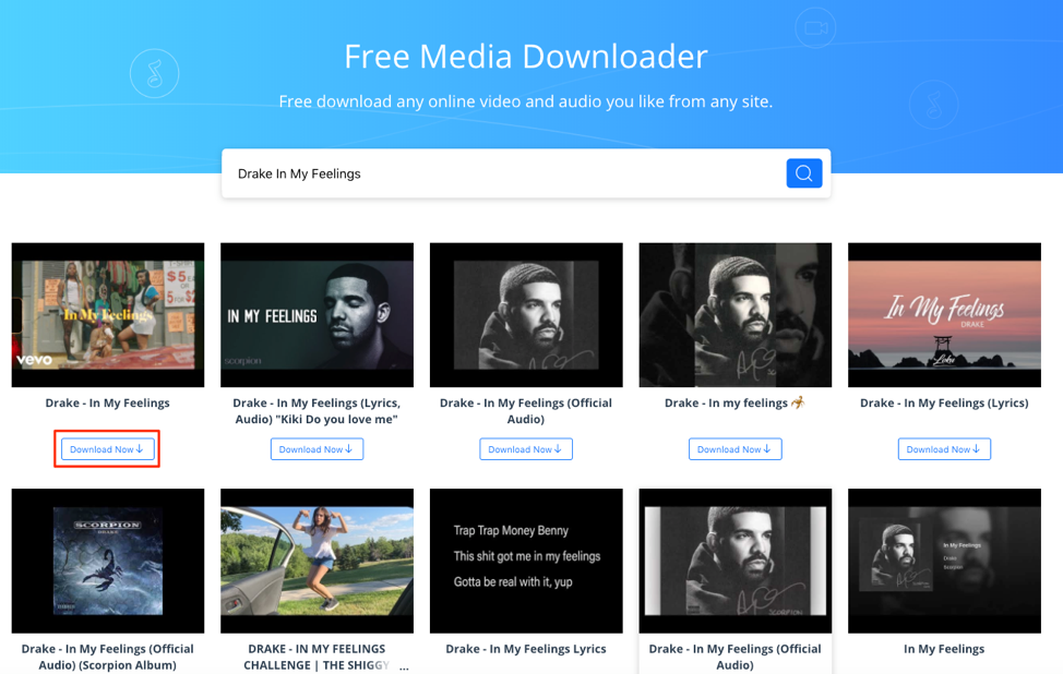 Download Drake In My Feelings with AnyGet Media Downloader – Step 1