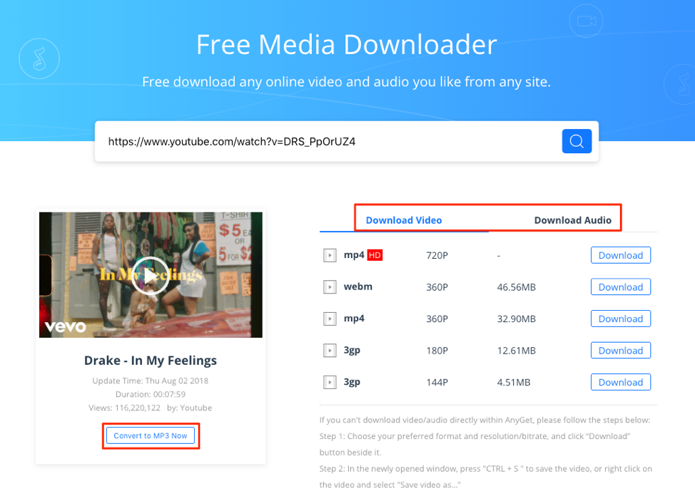 Download Drake In My Feelings with AnyGet Media Downloader – Step 2