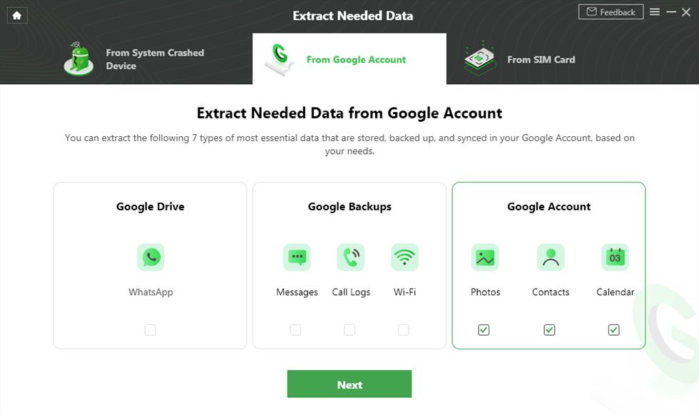 Click Contacts under the Google Account Box