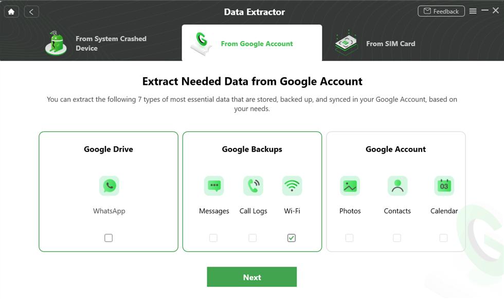 Select the Wi-Fi Option under Google Backups