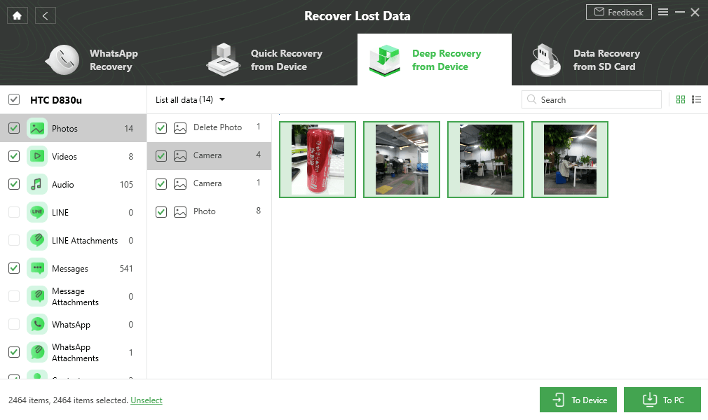 Select and Recover Data to Device or Computer