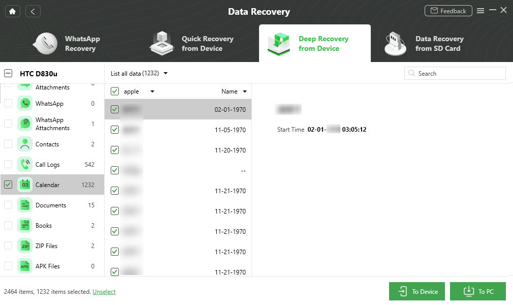 Recover Calendars to Android Phone