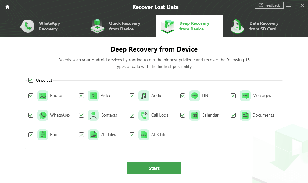 Select the Data Type You Need to Recover