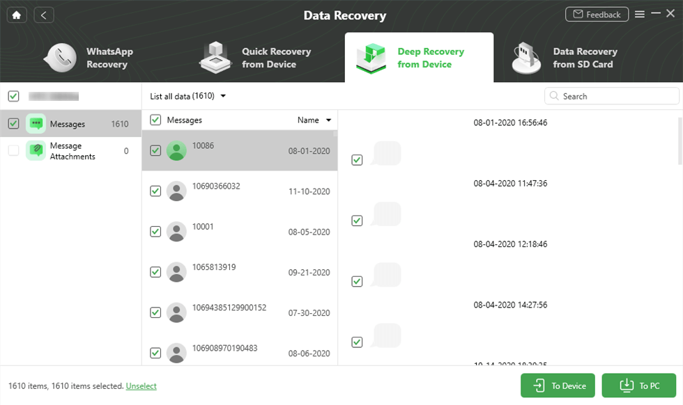 Preview and Select Messages to Retrieve