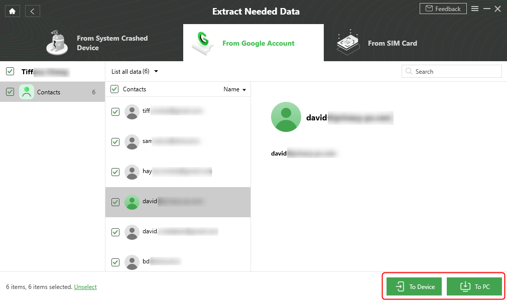 Select Contacts to Device or Computer