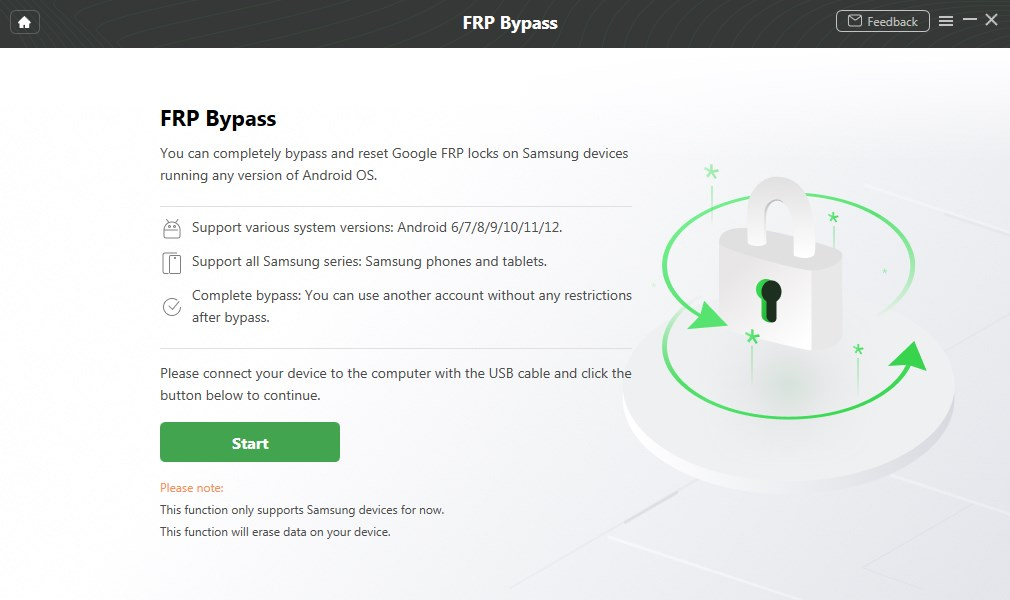 Click on the Start Button to Bypass FRP Lock on Samsung