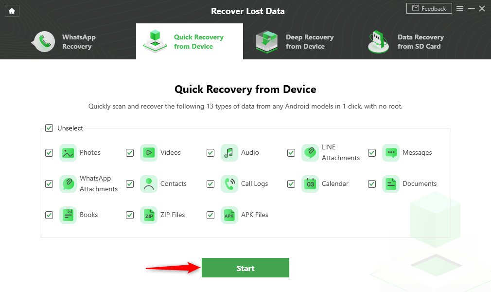Select the Data Type that You Want to Recover