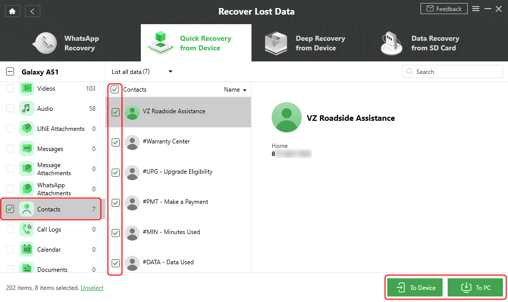 Select Data to Recover
