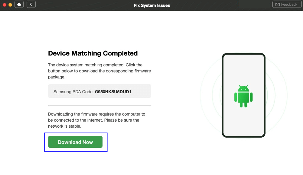 Start to Download Firmware Package