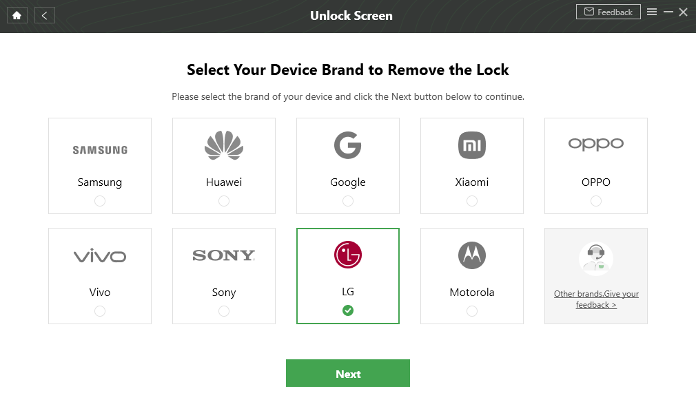 Select LG and Tap on Next