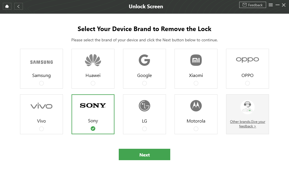 Confirm Locked Sony Brand and Continue
