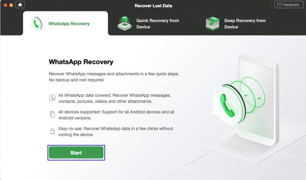 Start to Recover WhatsApp