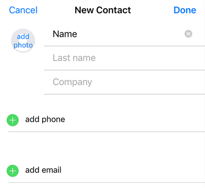 Enter the contact details and save