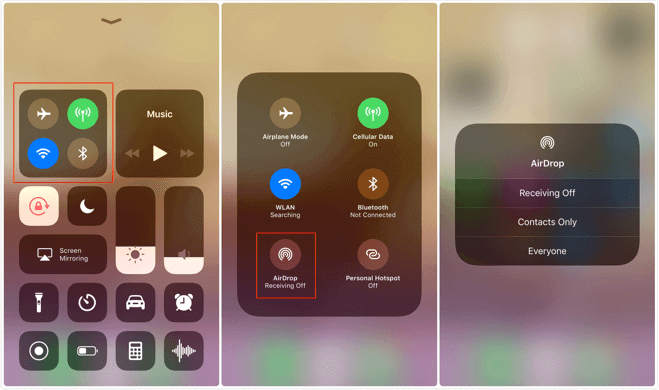 Enable AirDrop Feature from Control Center