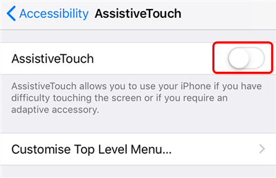 Toggle on AssistiveTouch