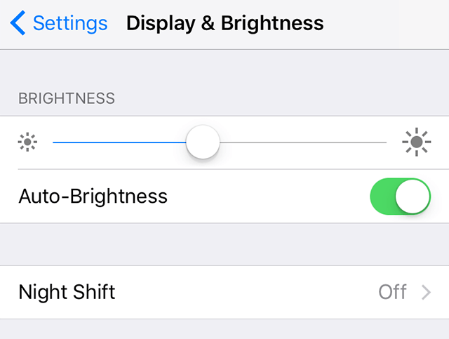 Enable auto-brightness on the iPhone