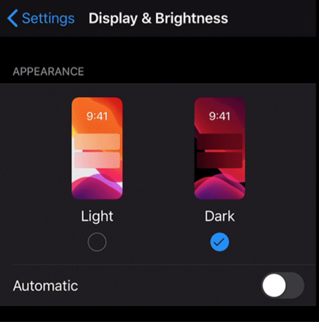 Enable Dark Mode from the Settings App in iOS 13