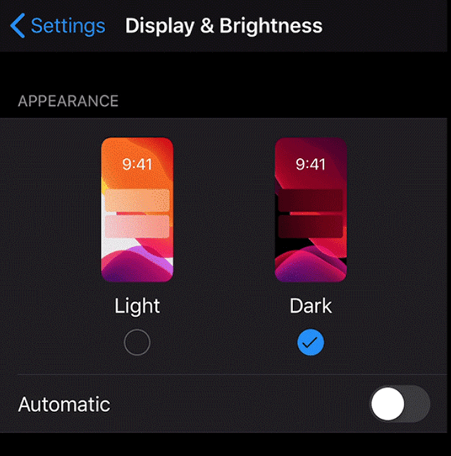 Enable dark mode on the iPhone