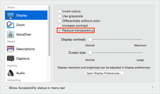 Disable Transparency Effects on Mac
