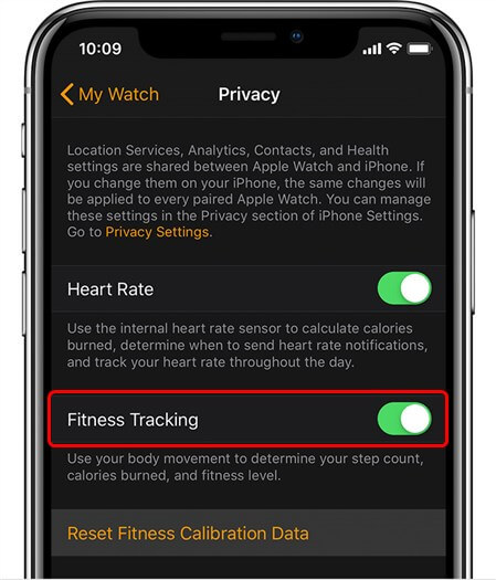Turn on the Fitness Tracking Setting on iPhone
