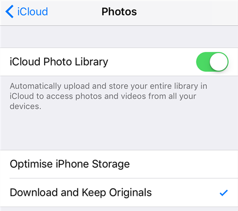 Upload the iPhone photos to iCloud