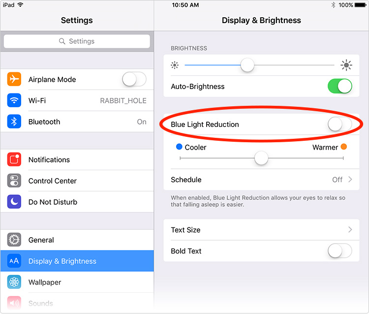 Turn on Night Shift Mode on iOS 9.3