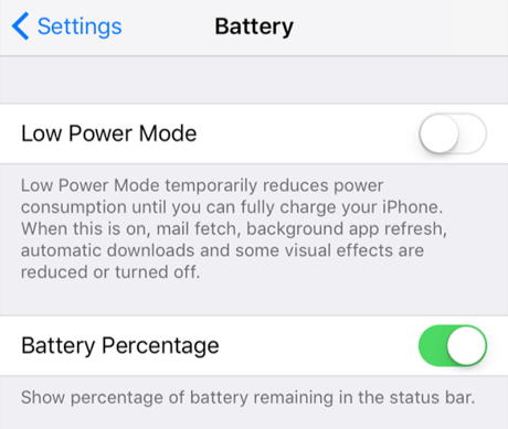 Enable the Battery Percentage Option in Settings