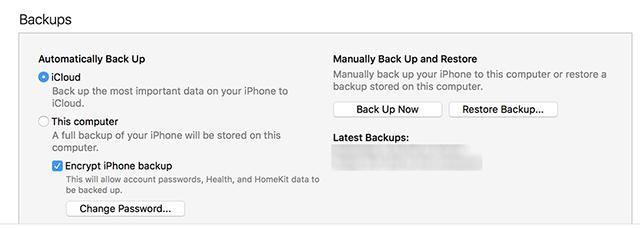 Disable iPhone backup encryption