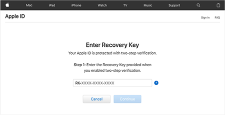 Enter The Account Recovery Key