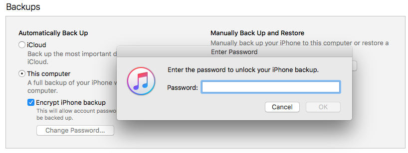 what is my iphone backup password itunes quot enter the password to unlock your iphone backup 5164