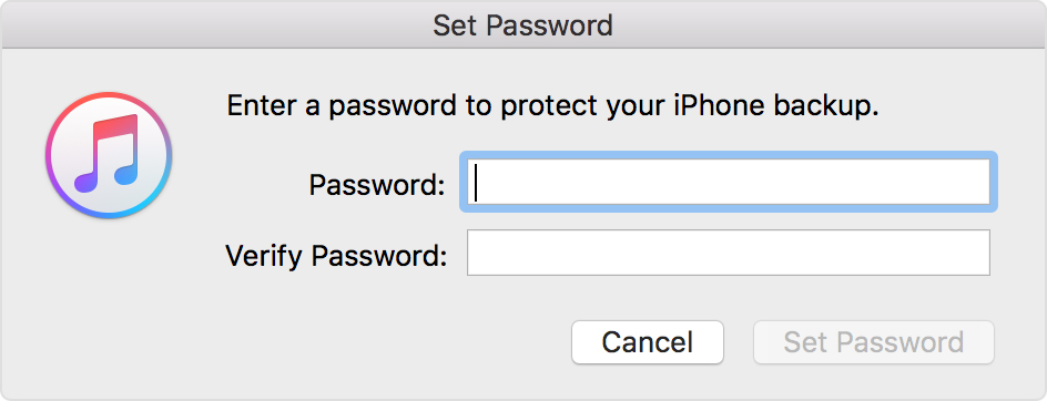 Encrypt a Backup by Setting a Password