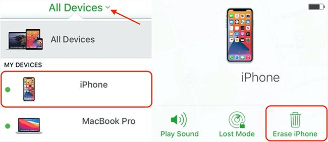 Erase iPhone to Unlock it via iCloud