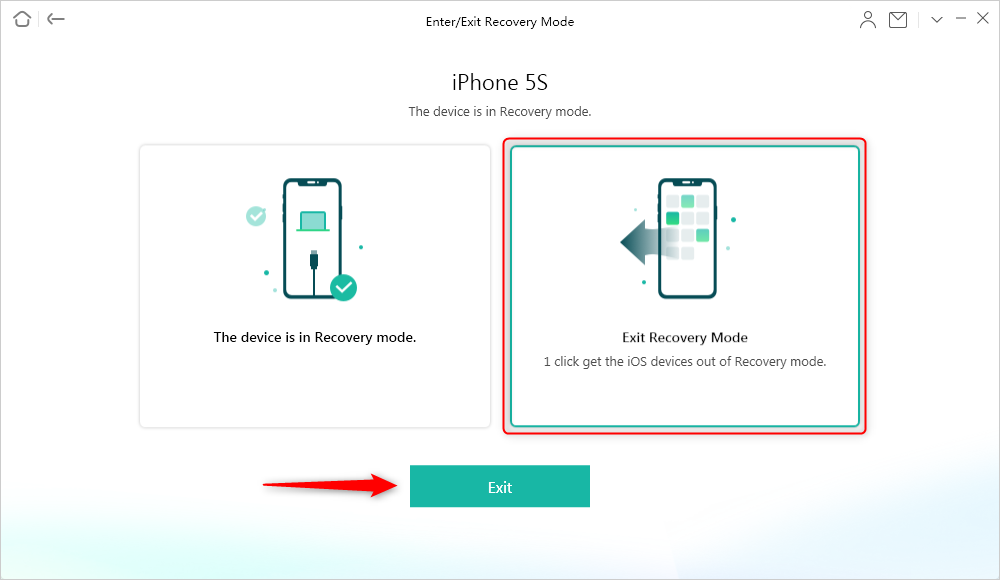 Exit iPhone recovery mode via AnyFix