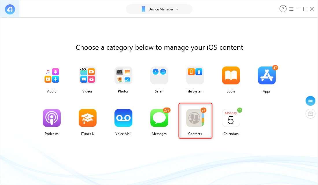 How to Export Contacts from iPhone - Step 2