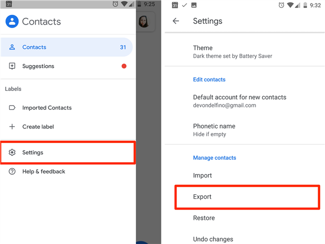Export Google Contacts on Android