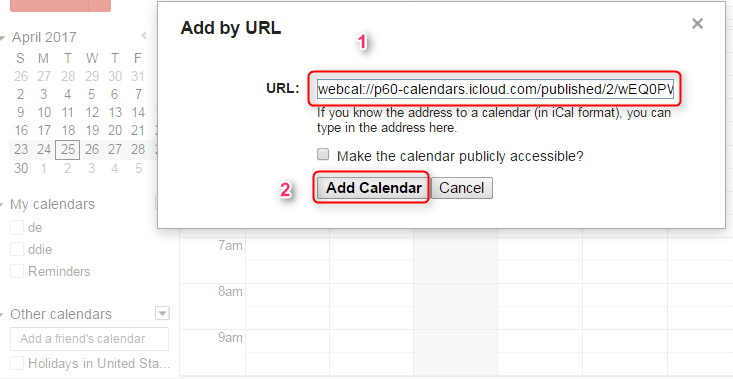 Share iCloud Calendar with Google by URL - Step 3