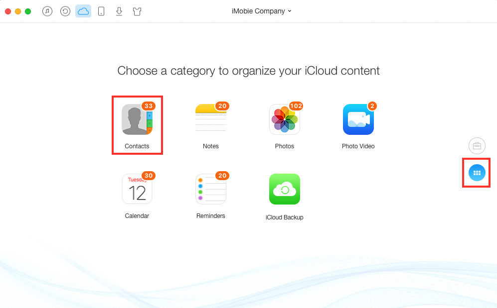 How to Export iCloud Contacts to CSV with AnyTrans - Step 2