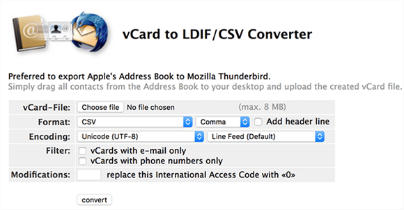 Convert Contacts to CSV