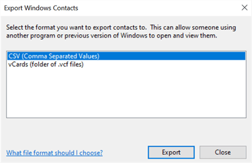 Export Contacts in CSV from File Explorer
