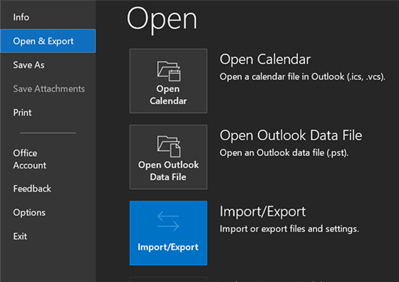 Import and Export Options in Outlook