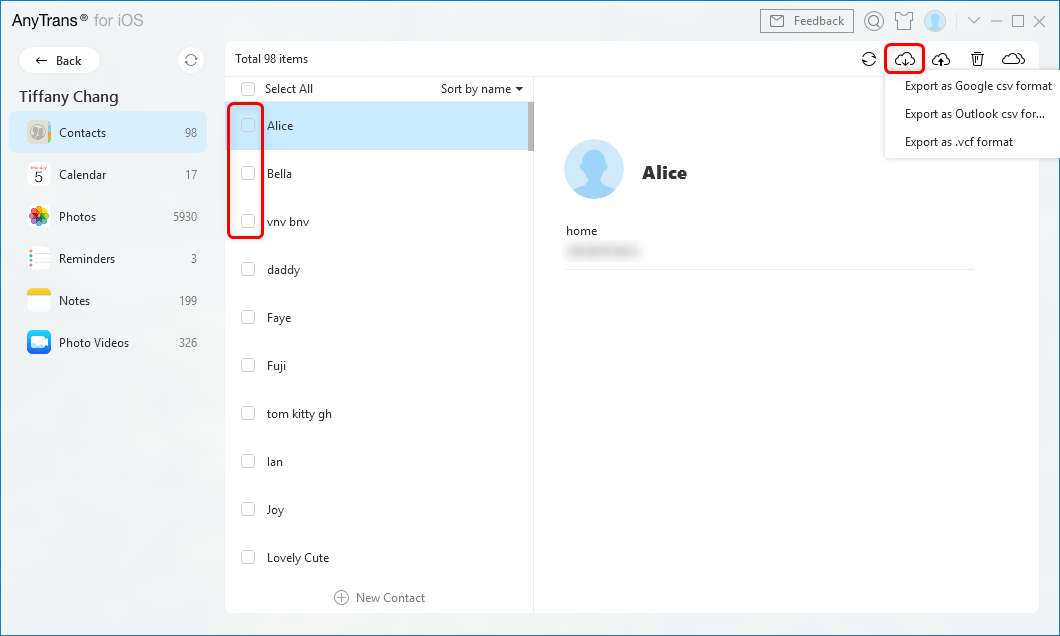 Export Contacts to CSV File