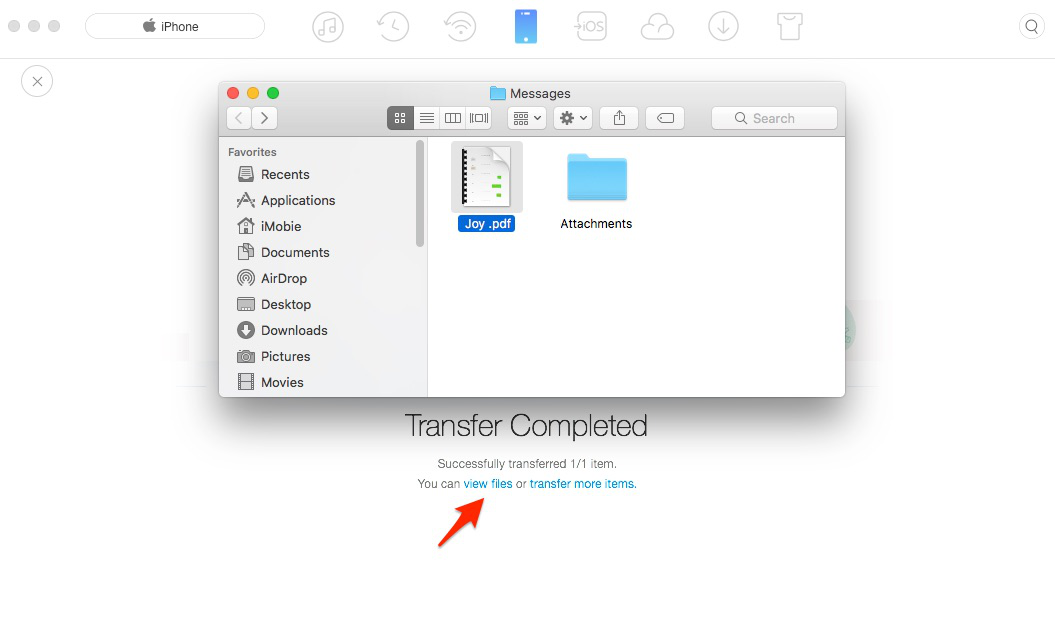 Convert iPhone Messages to PDF with AnyTrans for iOS - Step 5