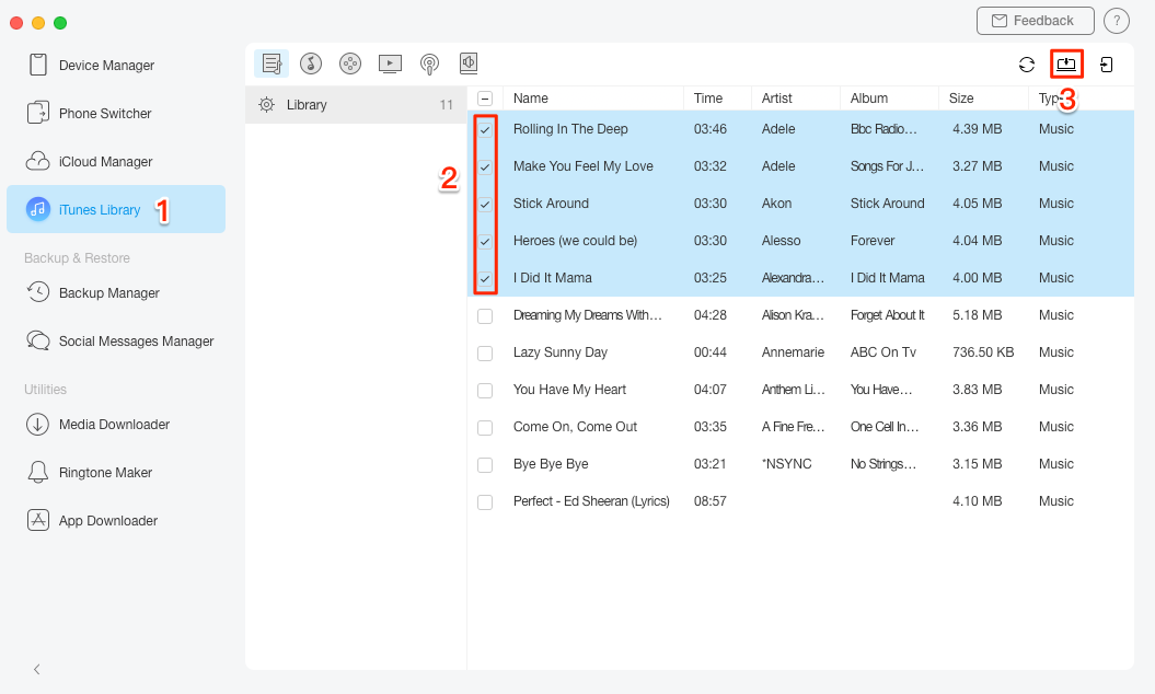 Export Music from iTunes to USB/Flash Drive with AnyTrans - Step 1