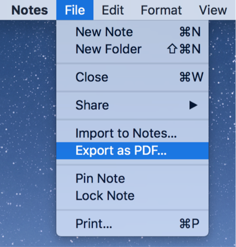 Export Notes as PDF on Mac