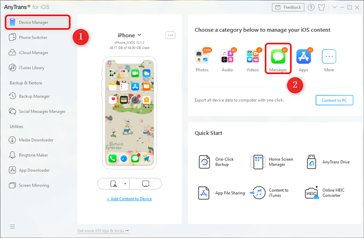 Tap Device Manager and Choose Messages from All Category
