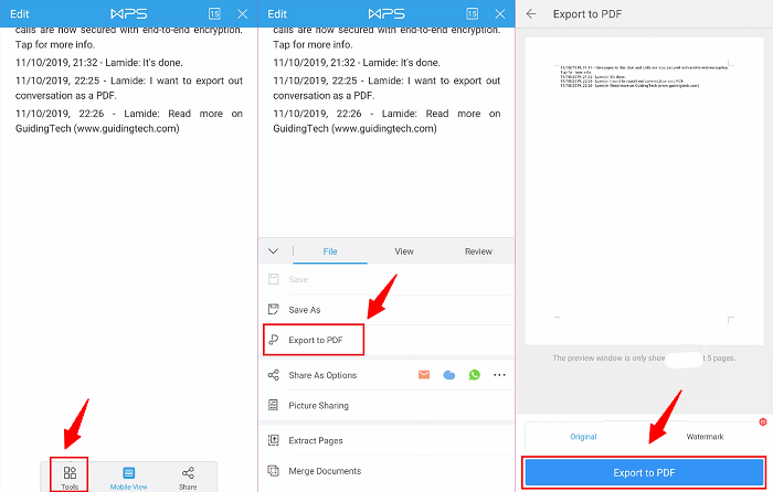 Export WhatsApp Messages to PDF
