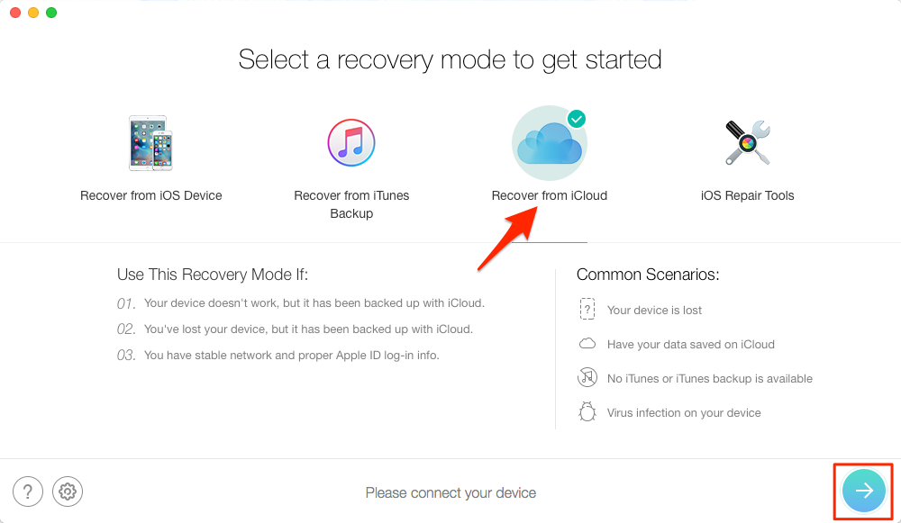 Alt: How to Extract Contacts from iCloud Backup – Step 1