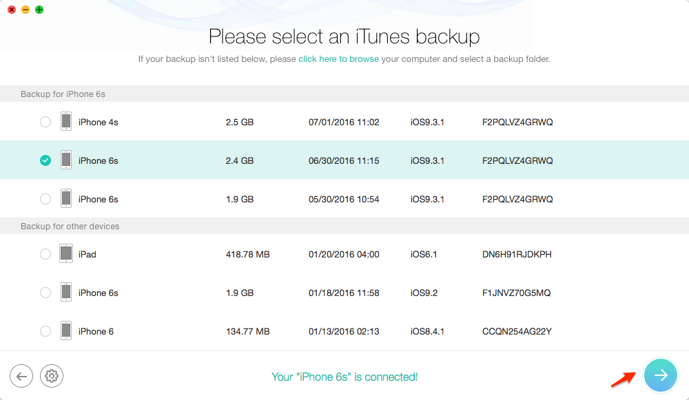 How to Extract Photos from iTunes Backup – Step 2